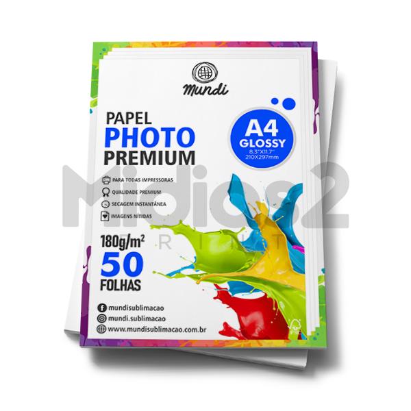 PAPEL A4 FOTOGRÁFICO GLOSSY ULTRA BRILHO 180G - MUNDI - 50 FLS