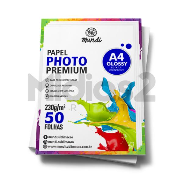 PAPEL A4 FOTOGRÁFICO GLOSSY ULTRA BRILHO 230G - MUNDI - 50 FLS
