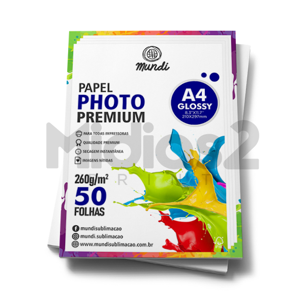 PAPEL A4 FOTOGRÁFICO GLOSSY ULTRA BRILHO 260G - MUNDI - 50 FLS