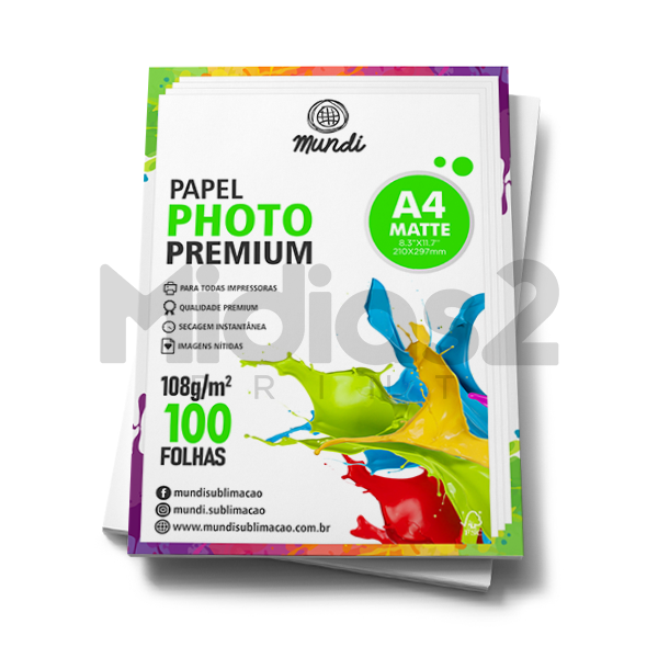 PAPEL A4 FOTOGRÁFICO MATT FOSCO 108G - MUNDI - 100 FLS