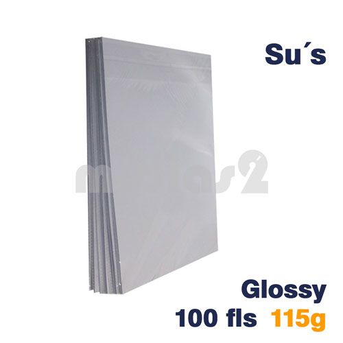 PAPEL A4 GLOSSY 115G - SUS - 100 FLS