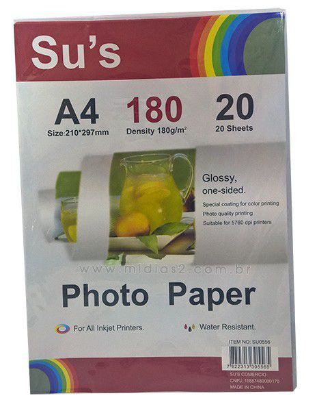 PAPEL A4 GLOSSY 180G - SUS - 20 FLS