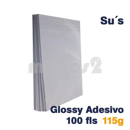 PAPEL A4 GLOSSY ADESIVO 115G - SUS - 100 FLS