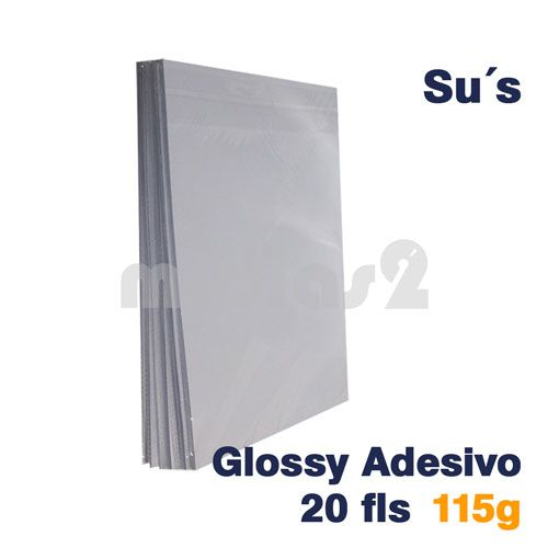 PAPEL A4 GLOSSY ADESIVO 115G - SUS - 20 FLS