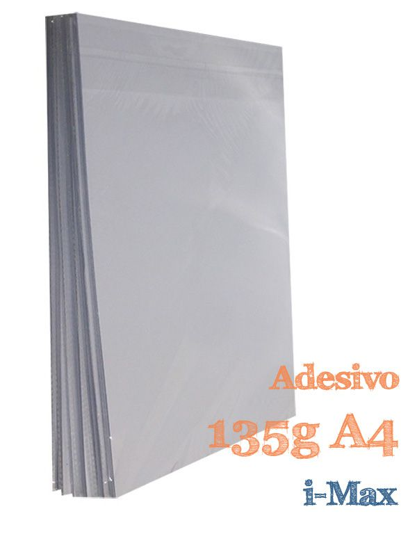 PAPEL A4 GLOSSY ADESIVO 135G COM 20 FLS - I-MAX