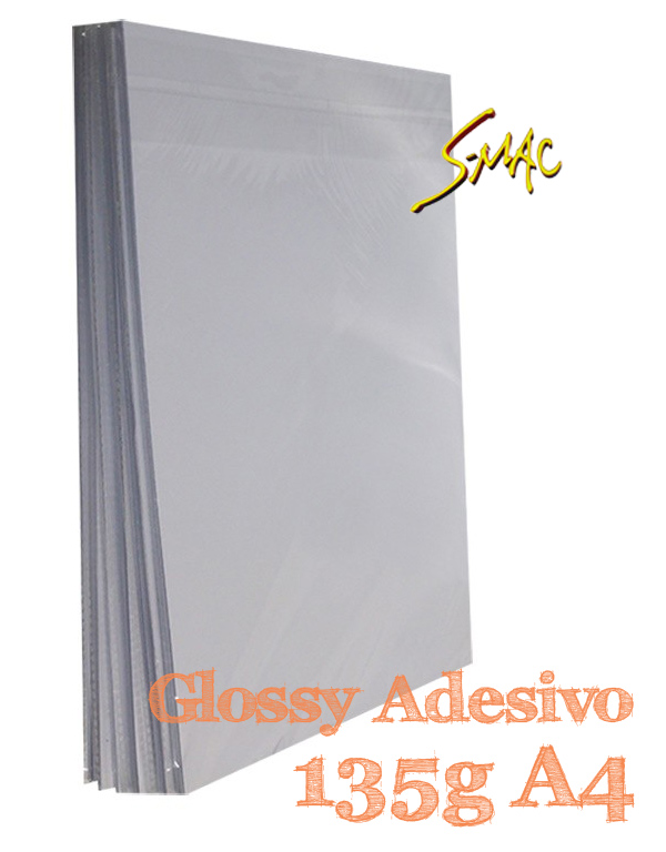 PAPEL A4 GLOSSY ADESIVO 135G COM 20 FLS - S-MAC