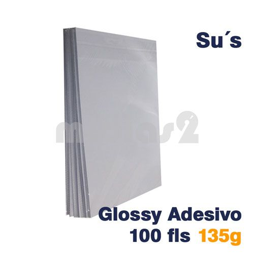 PAPEL A4 GLOSSY ADESIVO 135G - SUS - 100 FLS