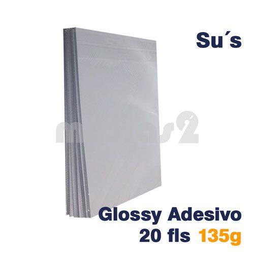 PAPEL A4 GLOSSY ADESIVO 135G - SUS - 20 FLS