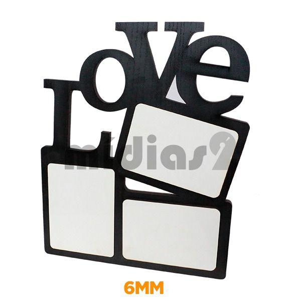 PORTA RETRATO LUX EM MDF 9MM MODELO LOVE TRIPLO
