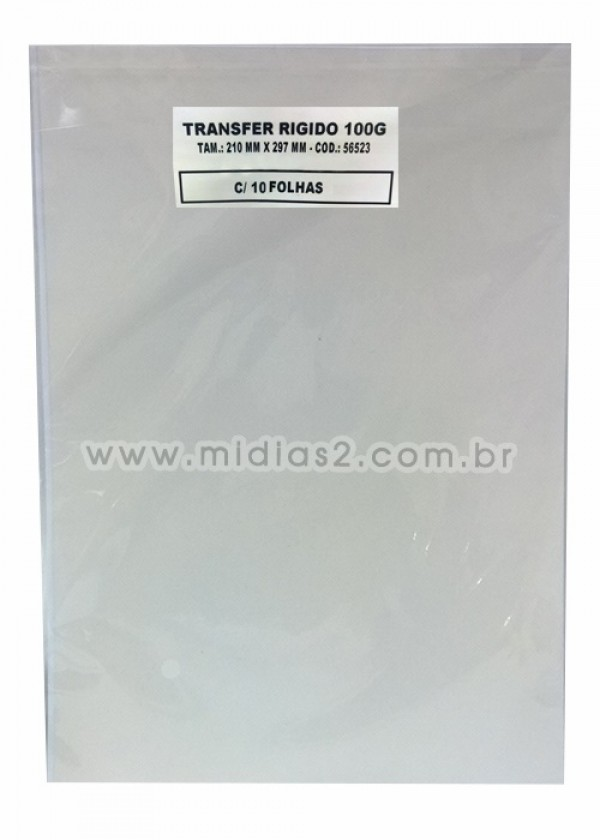 TRANSFER A4 RÍGIDO 100G PARA LASER - 10 FLS