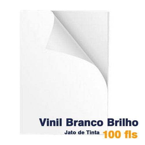 VINIL A4 ADESIVO BRANCO BRILHO PARA JATO DE TINTA - 100 FLS