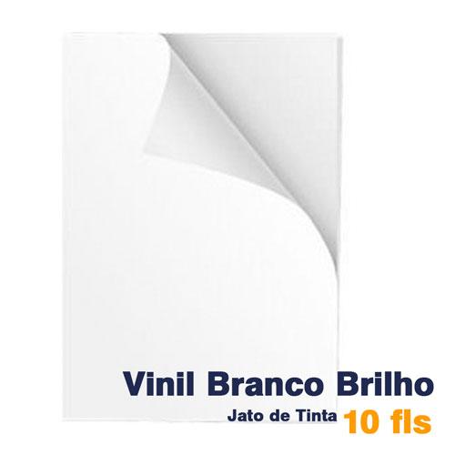 VINIL A4 ADESIVO BRANCO BRILHO PARA JATO DE TINTA - 10 fls