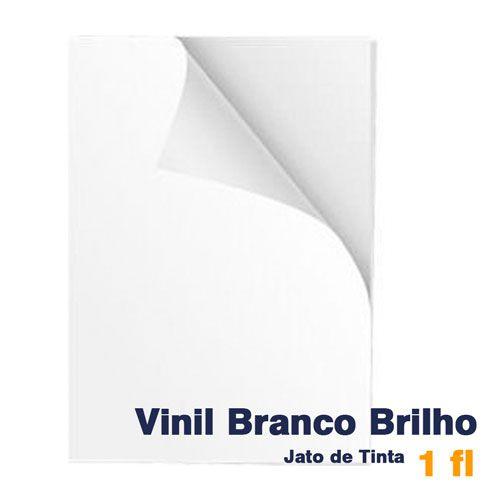 VINIL A4 ADESIVO BRANCO BRILHO PARA JATO DE TINTA - 1 FL