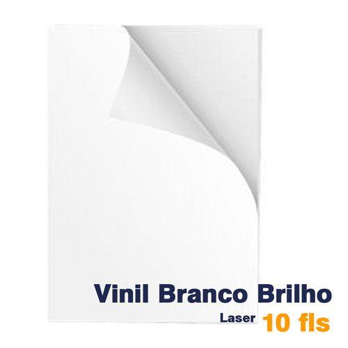 VINIL A4 ADESIVO BRANCO BRILHO PARA LASER - 10 fls