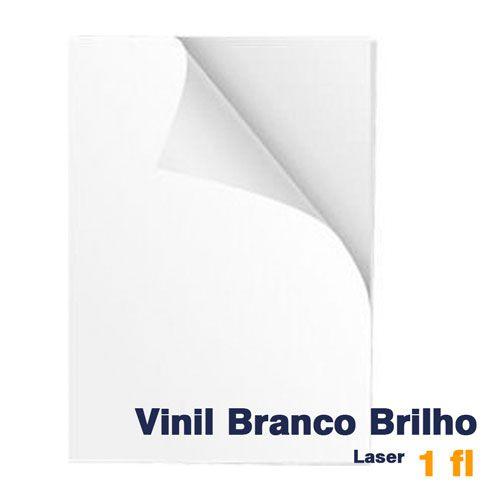 VINIL A4 ADESIVO BRANCO BRILHO PARA LASER - 1 FL