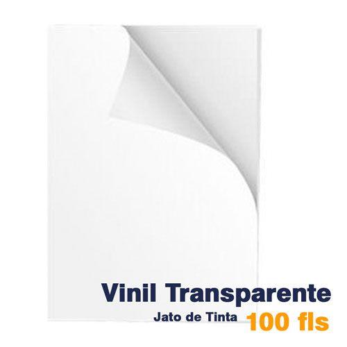 VINIL A4 ADESIVO TRANSPARENTE PARA JATO DE TINTA - 100 FLS