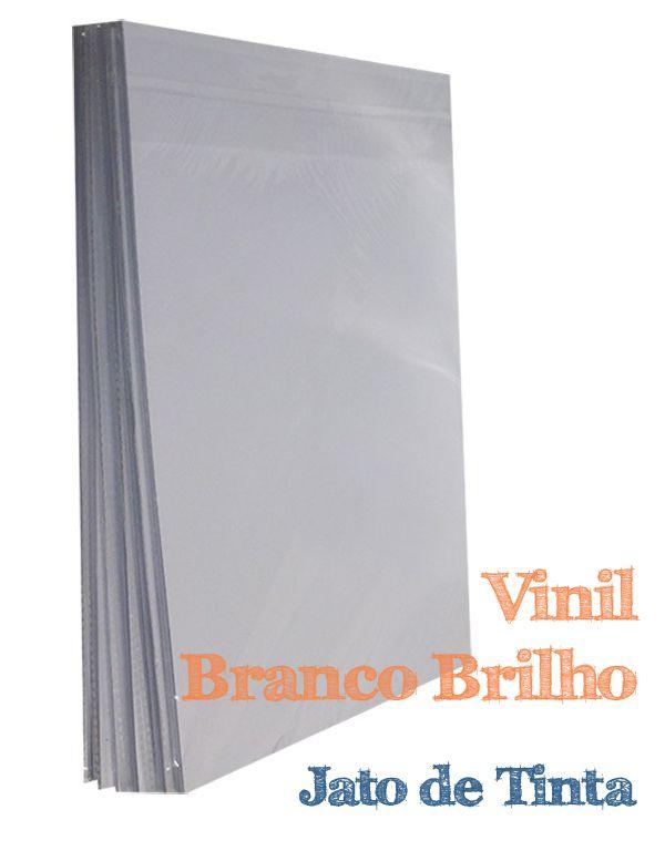 VINIL ADESIVO A4 BRANCO BRILHO INKJET - 10 FLS
