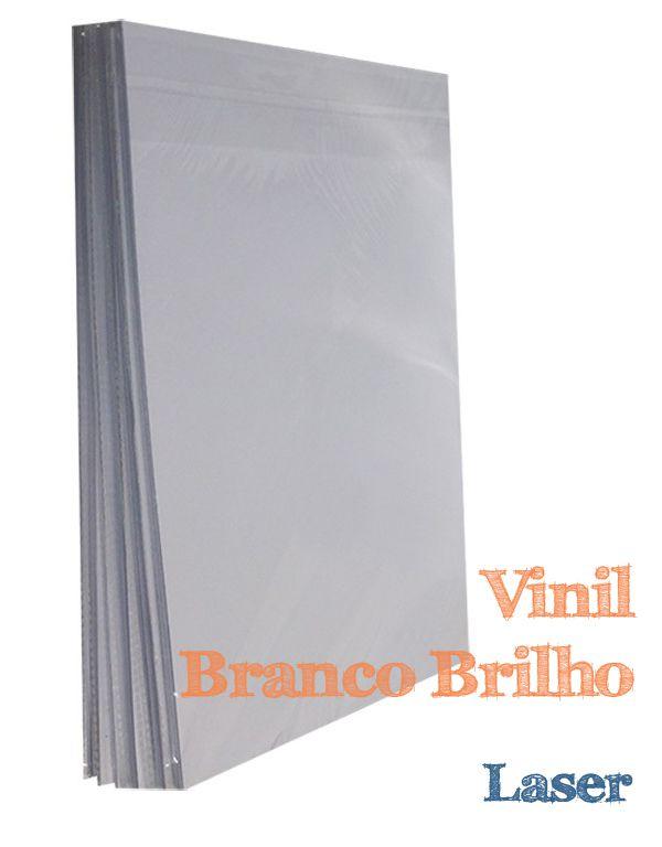 VINIL ADESIVO A4 BRANCO BRILHO PARA LASER 10 FLS