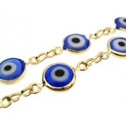 1m Corrente olho grego folheada em Ouro 18k OF-CR17