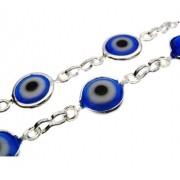 1m Corrente olho grego folheada em Prata PF-CR17