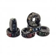 6 unids. Rondel Strass Rainbow 6mm Folheado em Grafite GF-EN45