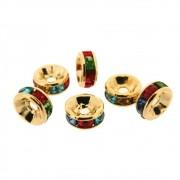 6 unids. Rondel Strass Rainbow 6mm Folheado em Ouro 18k OF-EN45