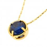 Colar da Vidência Zircônia Blue Folheado a Ouro CLPM-54