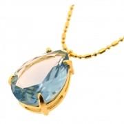 Colar Gota Cristal Água Marinha Folheado em Ouro CLPM-65