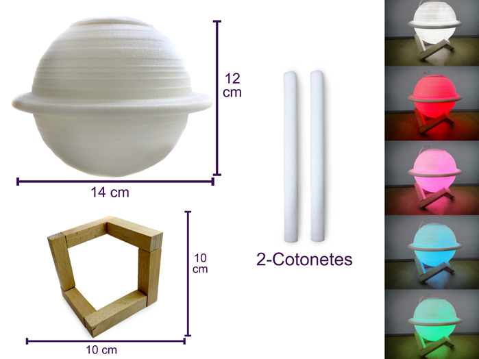 Abajur Luminária e Umidificador Saturno 3D
