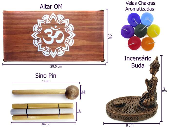 Altar Mandala + Incensário Buda + Sino Pin + Velas 7 Chakras