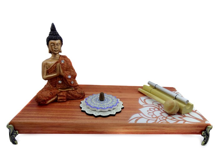 Altar de Madeira Mandala Lateral - Combo 3 Buda