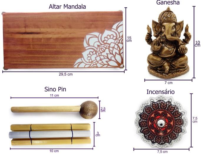 Altar de Madeira Mandala Lateral Combo 3 Ganesha