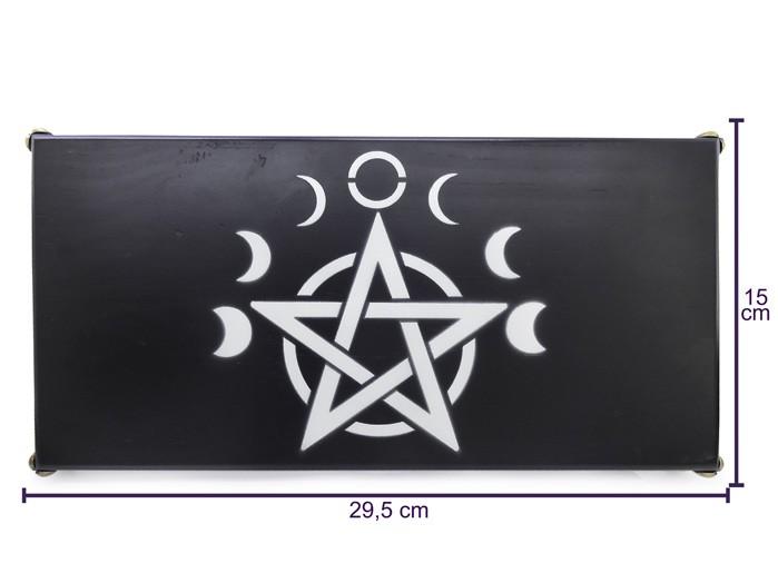 Altar Pentagrama Wicca em Madeira - Preto