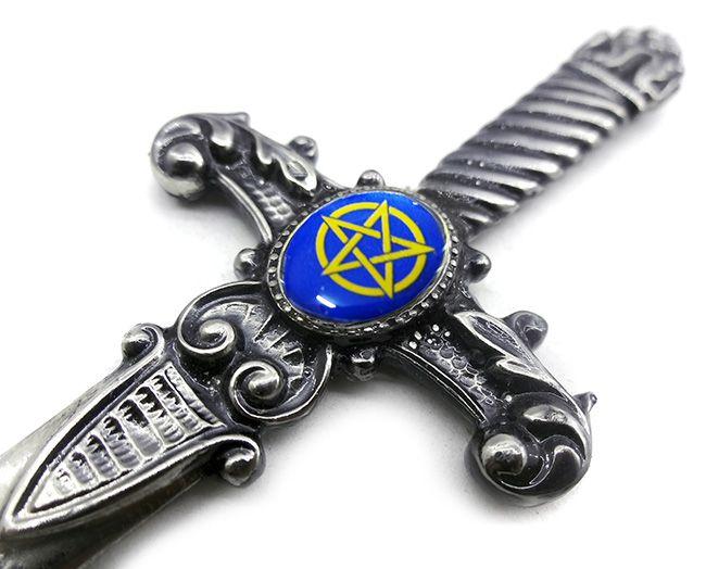 Athame Wicca Pentagrama Azul Escuro Punhal