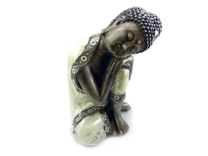 Buda Sidarta Dormindo Imagem Resina Preto 24 x 15 cm