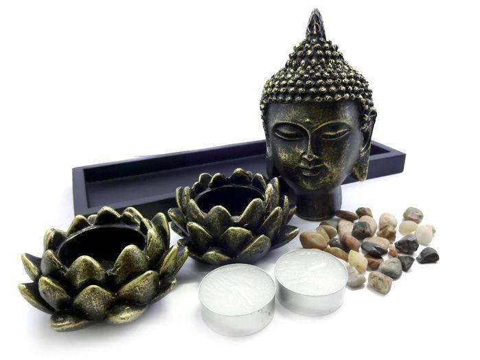 Porta Velas Buda - Altar Castiçal Hindu - 15 x 27 cm
