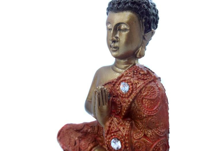 Buda Tibetano Meditando Laranja 14 cm
