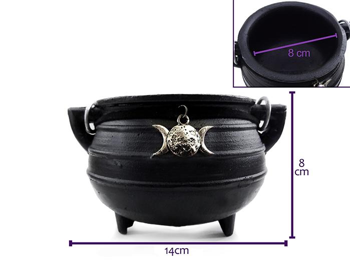 Caldeirão De Bruxa Em Ferro Médio 350ml Wicca Panela Com Triluna