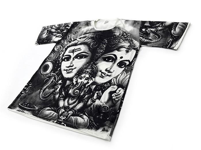 Camiseta Hindu Deus Shiva e Deus Ganesha Branco e Preto