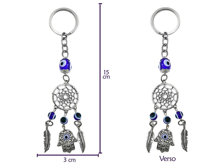 Chaveiro Olho Grego Amuleto de Proteção Filtro dos Sonhos