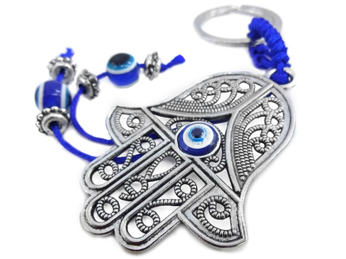 Chaveiro Hamsa com Olho Grego Amuleto