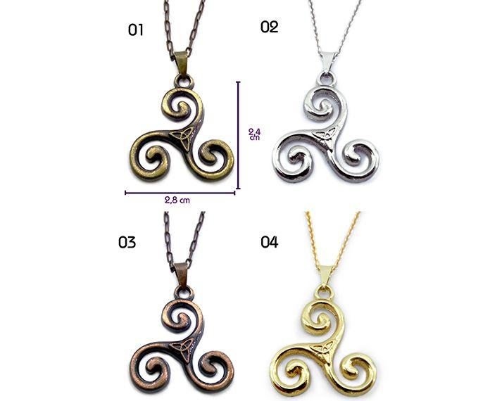 Colar Triskle Espiral Tripla