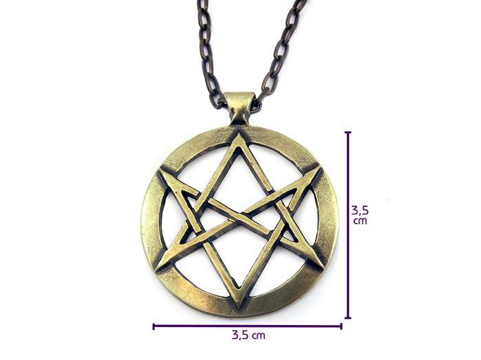 Colar Hexagrama Unicursal Crowley Lei Thèlema 3,5 cm