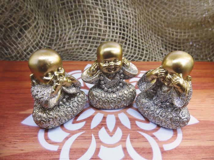 Conjunto Monges Dourados Sábios Cego Surdo Mudo 5 cm