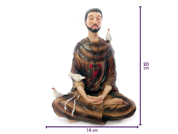 Imagem Estátua São Francisco Assis Meditando Lotus 20 x 14 cm
