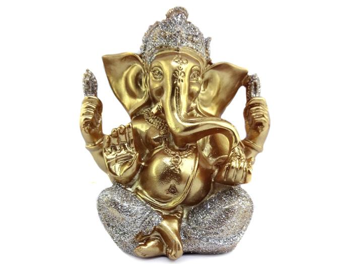 Deus Ganesha Dourado com Glitter Enfeite 10 cm