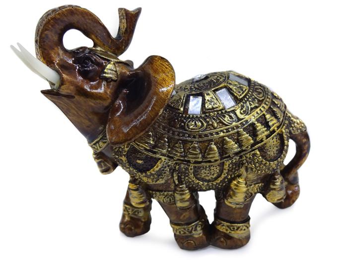 Enfeite Elefante Dourado com Espelhos 12cm