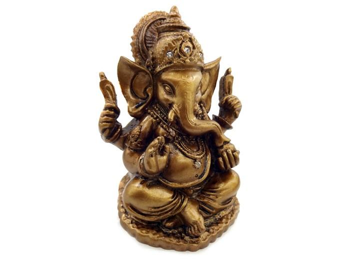 Estátua De Ganesha Marrom (10cm) Altar/Decoração