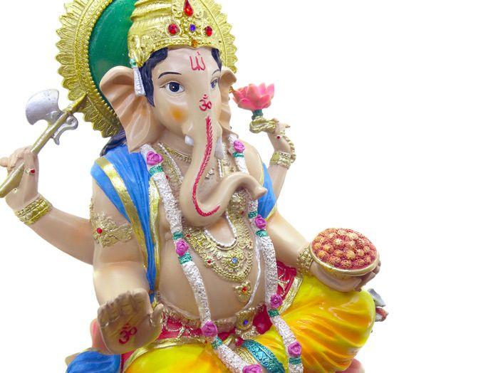 Estátua Deus Hindu Ganesha Colorido 32 cm