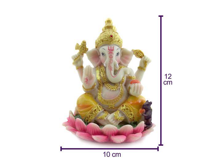 Estátua Ganesha 12 cm com Flor de Lotus